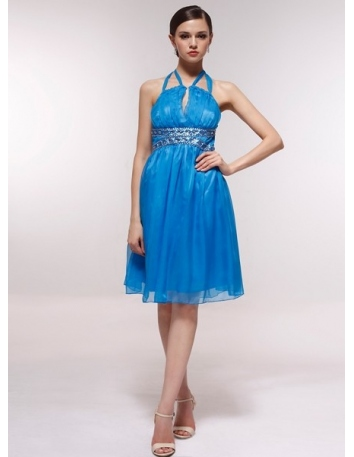 ETHEL - Bridesmaid Cheap Princess Knee length 30D Chiffon Halter Wedding Party Dress