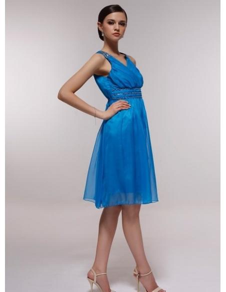 EVELYN - Bridesmaid Cheap Princess Knee length 30D Chiffon Halter Wedding Party Dress