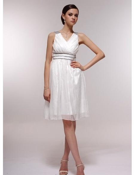 EVANGELINE - Bridesmaid Cheap Princess Knee length 30D Chiffon Halter Wedding Party Dress