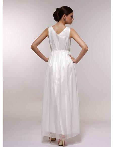 FANNY - Bridesmaid Cheap Princess Floor length 30D Chiffon Halter Wedding Party Dress