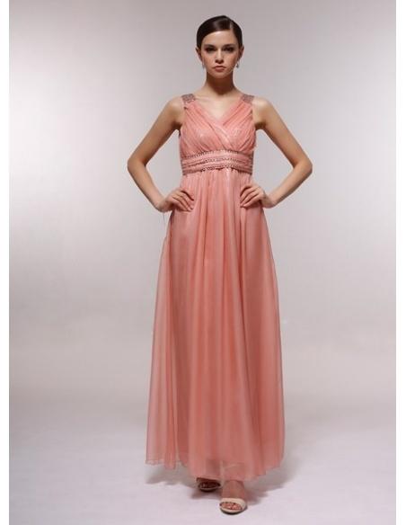 FAY - Bridesmaid Cheap Princess Floor length 30D Chiffon Halter Wedding Party Dress