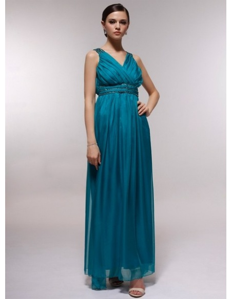 FRANCES - Bridesmaid Cheap Princess Floor length 30D Chiffon Halter Wedding Party Dress