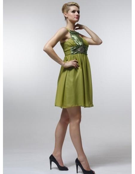 FREDA - Bridesmaid Cheap Princess Knee length 30D Chiffon One shoulder Wedding Party Dress
