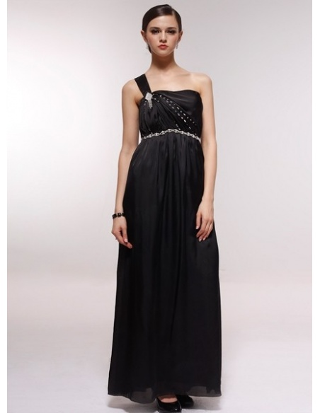 GABRIELLE - Bridesmaid Cheap Princess Floor length 30D Chiffon One shoulder Wedding Party Dress