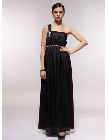 GABRIELLE - Bridesmaid Cheap Princess Floor length 30D Chiffon One shoulder Wedding Party Dress