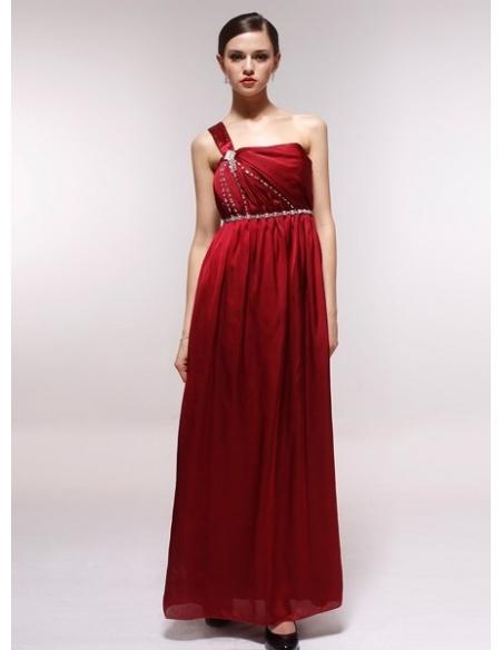 GAIL - Bridesmaid Cheap Princess Floor length 30D Chiffon One shoulder Wedding Party Dress