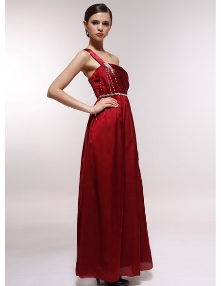 GAIL - Bridesmaid Cheap Princess Floor length 30D Chiffon One shoulder Wedding Party Dress