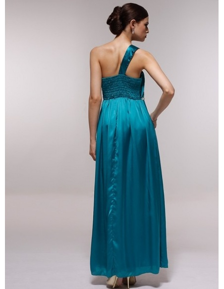 GENEVIEVE - Bridesmaid Cheap Princess Floor length 30D Chiffon One shoulder Wedding Party Dress