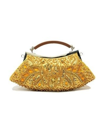 Gold Stain Beading Special Occasion Handbags/Clutches