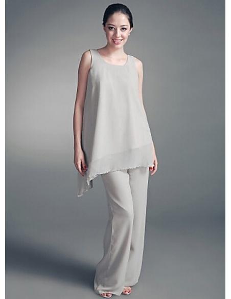 ANGEL - Pant suit Sheath/Column Ankle length Chiffon Square neck Wedding Party Dress