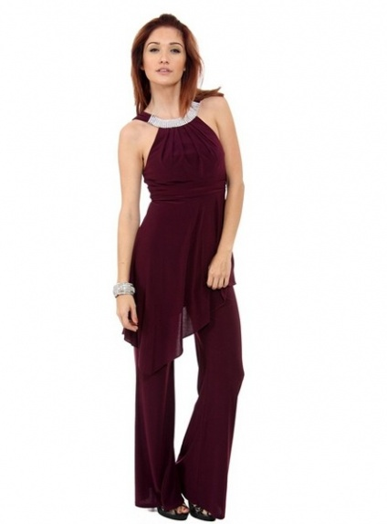 NICKY - Pant suit Sheath/Column Ankle length Chiffon Low round/Scooped neck Wedding Party Dress