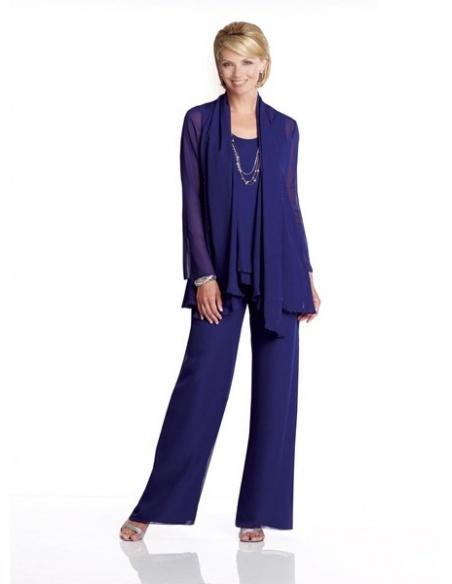 GRACE - Pant suit Sheath/Column Ankle length Chiffon Low round/Scooped neck Wedding Party Dress