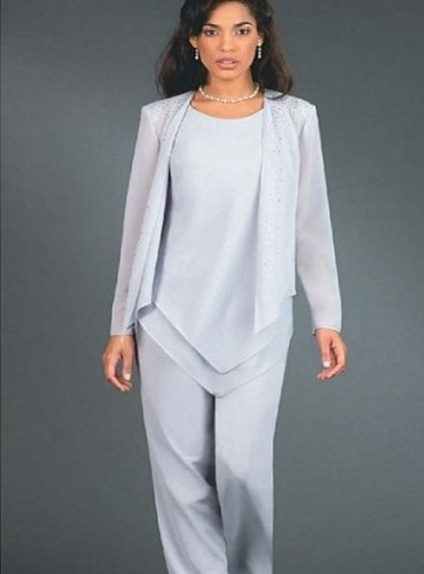 SOPHIE - Pant suit Sheath/Column Ankle length Chiffon Low round/Scooped neck Wedding Party Dress