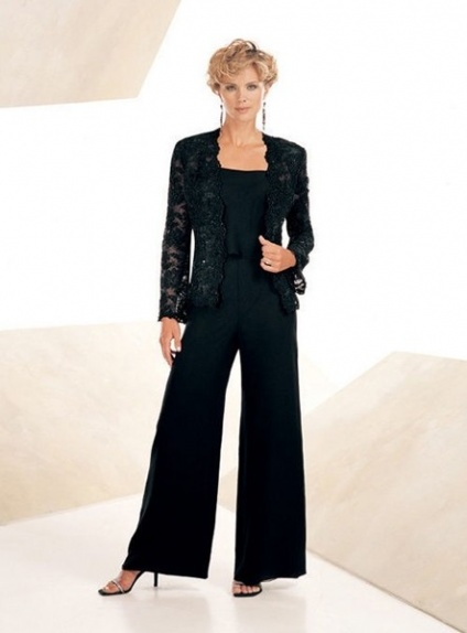 EMILY - Pant suit Sheath/Column Ankle length Chiffon Square neck Wedding Party Dress