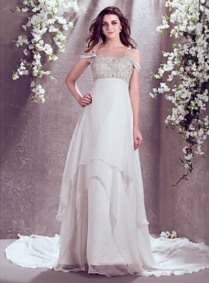 JOCELYN - A-line Spaghetti straps Chapel train Chiffon Off the shoulder Wedding Dress