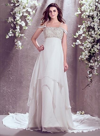 A-line Spaghetti straps Chapel train Chiffon Off the shoulder Wedding Dress 5252ff6cf