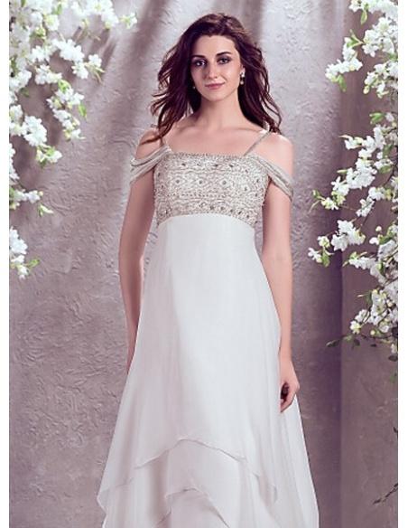 JOCELYN - A-line Spaghetti straps Chapel train Chiffon Off the shoulder Wedding Dress