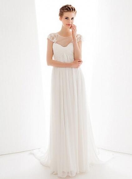 Vestiti Eleganti Stile Impero.Rita Abito Da Sposa Online Stile Impero In Georgette
