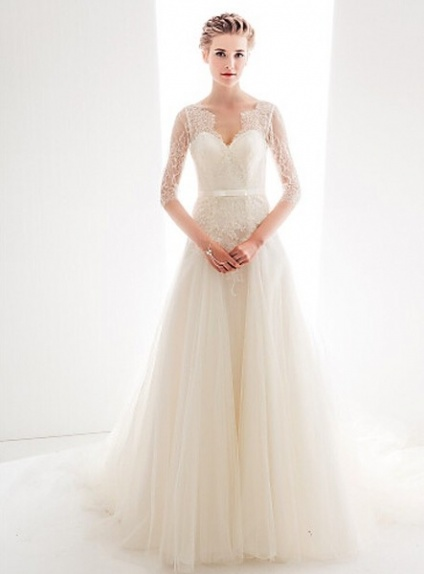 Yvette abito da sposa online di tulle morbido e pizzo for Wedding dress shops in ma