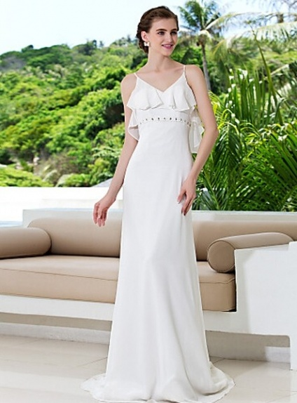 WANDA - Sheath Spaghetti straps Court train Chiffon V-neck Wedding Dress