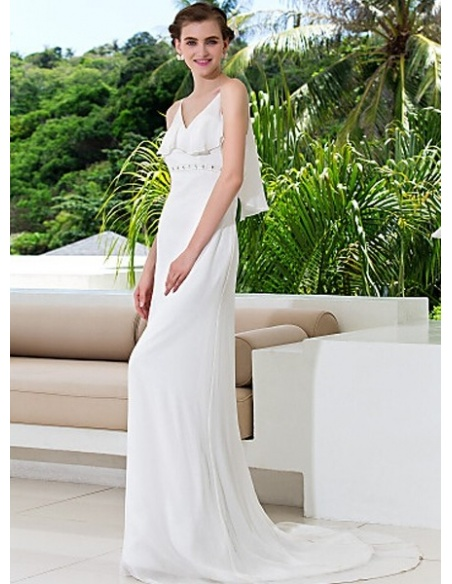 WANDA - Sheath Spaghetti straps Court train Chiffon V-neck Wedding Dress