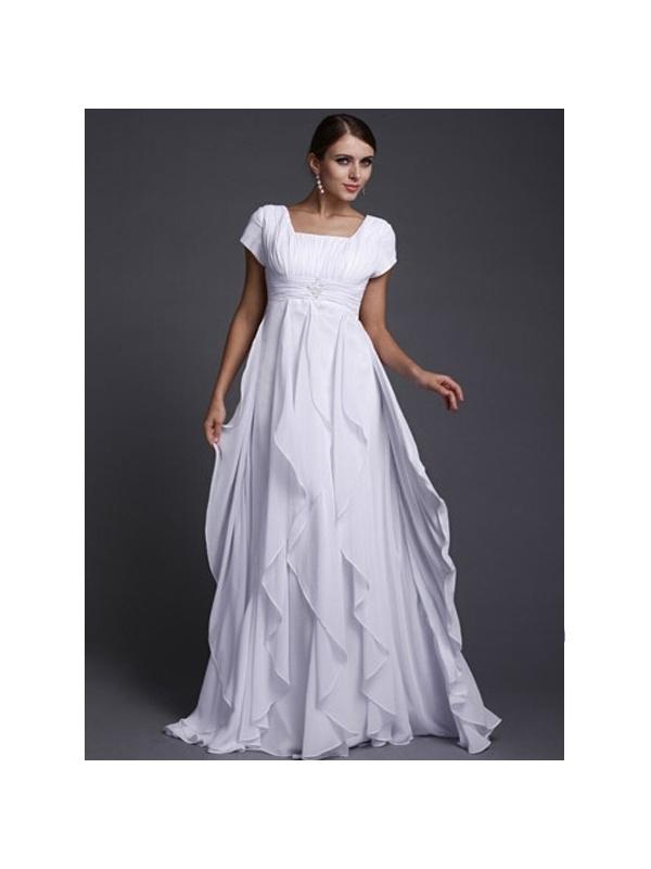 SILVIA - A-line Empire waist Floor length Chiffon Square neck Wedding ...