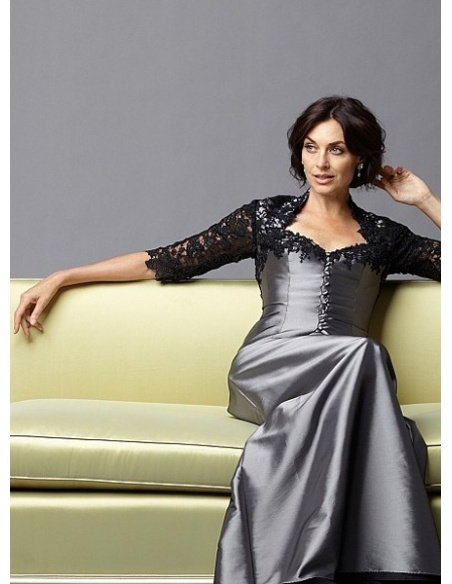 OLINA - Mother of the bride A-line Floor length Taffeta Lace V-neck Wedding Party Dress