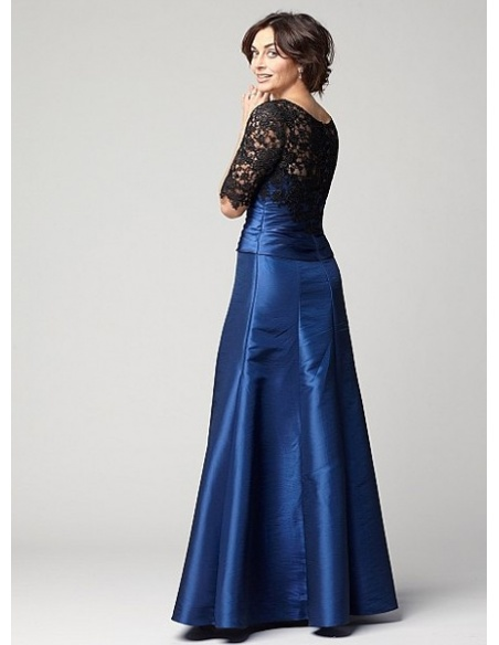 PHYLLIS - Mother of the bride A-line Floor length Taffeta Lace Low round/Scooped neck Wedding Party Dress