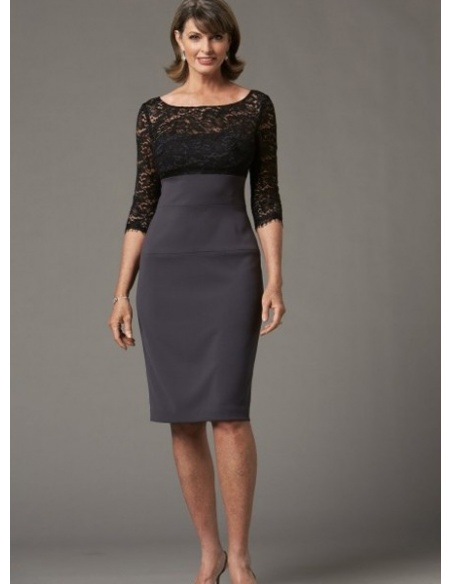 RACHEL - Mother of the bride Sheath/Column Knee length Chiffon Lace Low round/Scooped neck Wedding Party Dress
