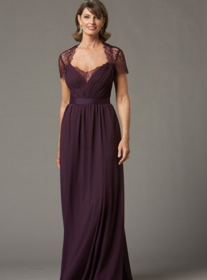 REBECCA - Mother of the bride A-line Floor length Chiffon Lace Asymmetrical Wedding Party Dress