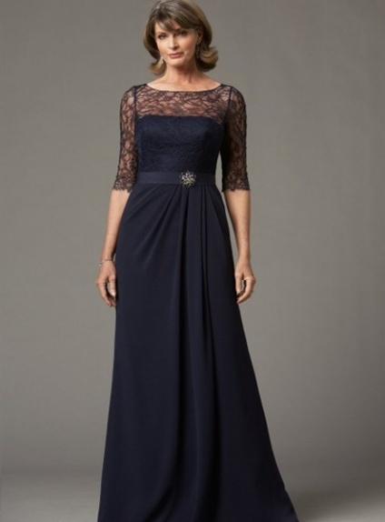 ROSE - Mother of the bride A-line Floor length Chiffon Lace Low round/Scooped neck Wedding Party Dress