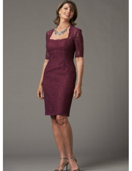 SABRINA - Mother of the bride Sheath/Column Knee length Lace Square neck Wedding Party Dress