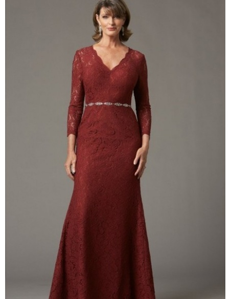 SANDY - Mother of the bride A-line Floor length Lace V-neck Wedding Party Dress