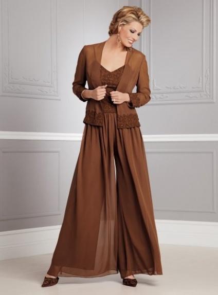 STELLA - Pant suit A-line Ankle length Chiffon V-neck Wedding Party Dress
