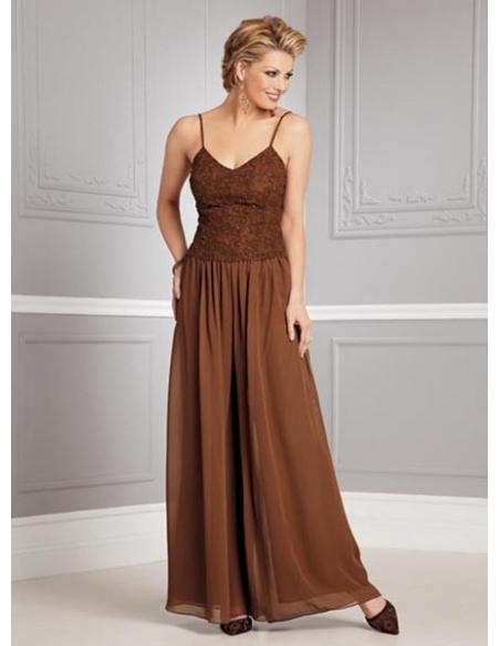 STELLA - Pant suit A-line Ankle length Chiffon V-neck Wedding Party Dress