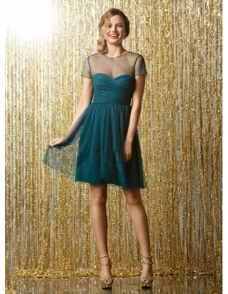 VANESSA - Bridesmaid Sheath/Column Knee length Tulle High round/Slash neck Wedding Party Dress