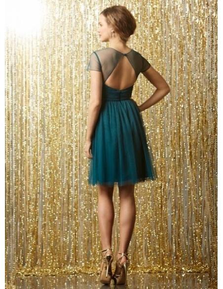 VANESSA - Bridesmaid Sheath/Column Knee length Tulle High round/Slash neck Wedding Party Dress
