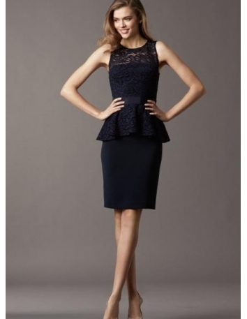 VICKY - Bridesmaid Sheath/Column Knee length Chiffon Lace Low round/Scooped neck Wedding Party Dress