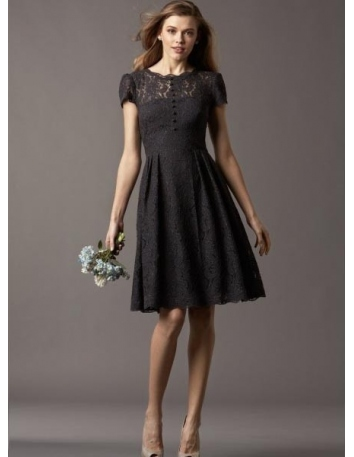 WENDY - Bridesmaid A-line Knee length Lace Low round/Scooped neck Wedding Party Dress
