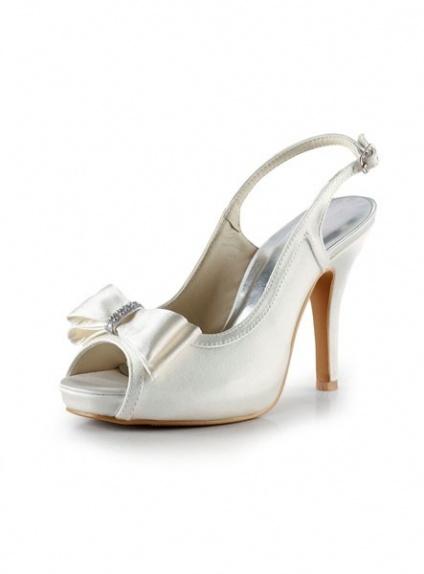 Scarpe Modello Chanel Sposa.Peep Toe Satin Rubber Sole Wedding Shoes