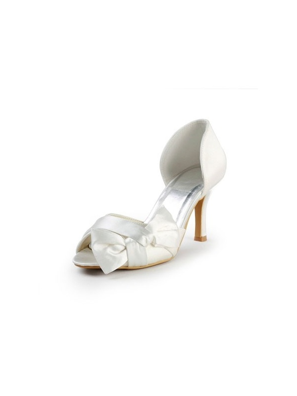 Scarpe Sposa Online.Peep Toe Satin Rubber Sole Wedding Shoes