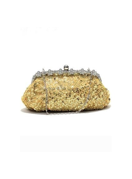 Gold Stain Rhinestone Wedding Handbags/Clutches