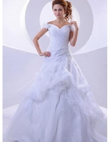 e4a2301c8b17 BERNICE - A-line Off the shoulder Chapel train Wedding Dress ...