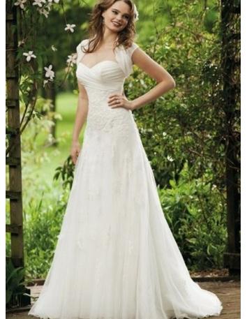 KATHERINE - A-line Sweetheart Chapel train Organza Wedding Dress