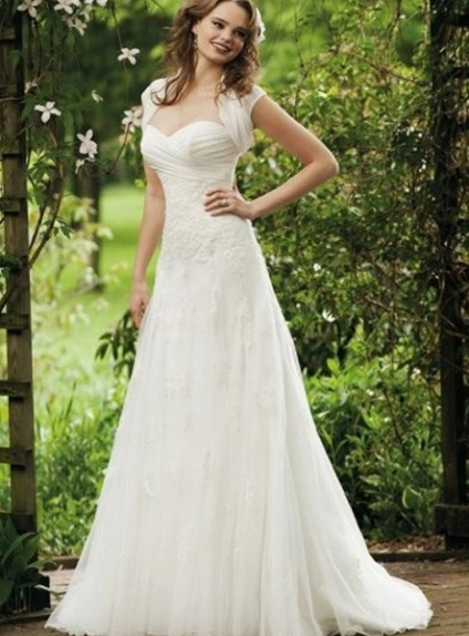 KATHERINE - A-line Sweetheart Chapel train Organza Wedding Dress