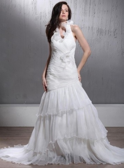 LEANNA - A-line Halter Chapel train Organza Wedding Dress