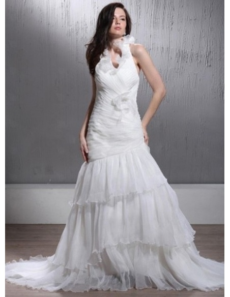 LEANNA - A-line Halter Chapel train Organza Wedding Dress