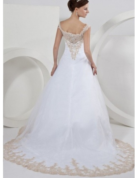 ISABELLE - A-line Off the shoulder Chapel train Organza Wedding Dress