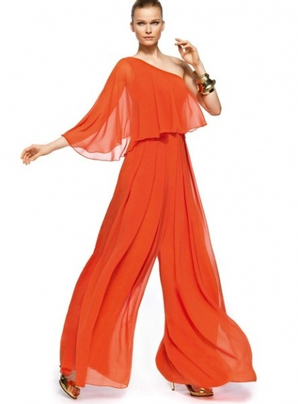Calie Pant Suit Floor Length Stretch Satin Chiffon One Shoulder Wedding Party Dress