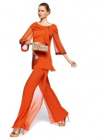 ALIA - Pant Suit Floor length Chiffon Low round/Scooped neck Wedding Party Dress